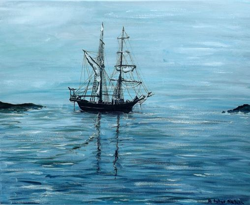 At Anchor Original Painting by Mike Bailey