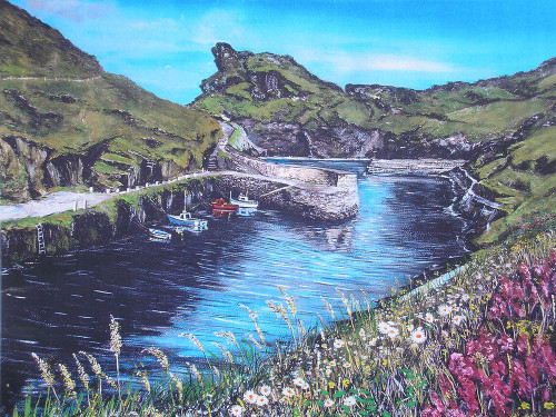 Boscastle giclee canvas print by Mike Bailey