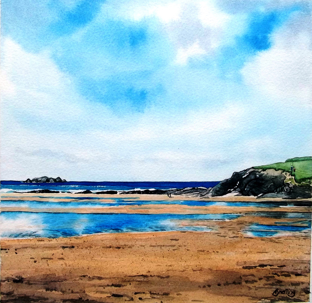 Harlyn Bay Watercolour Print