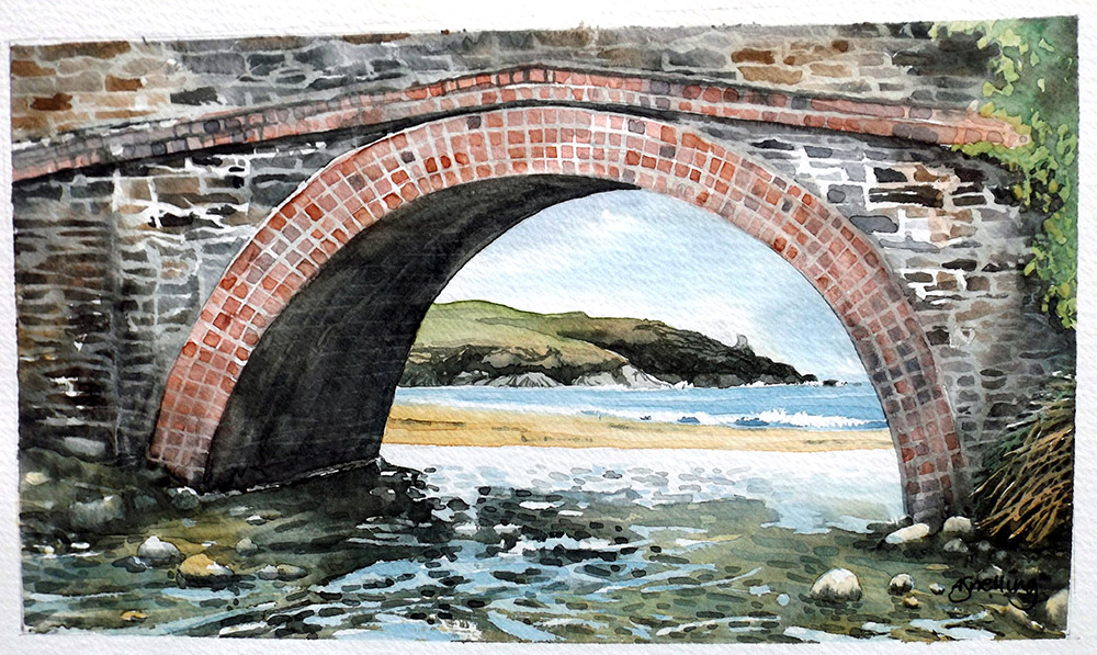 Harlyn Bridge Watercolour Print