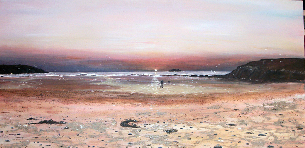 Harlyn Sunset gicless canvas print by Mike Bailey