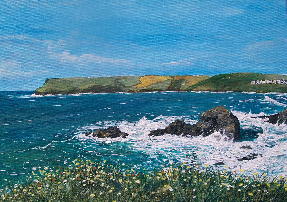 Polzeath Giclee Canvas Print by Mike Bailey