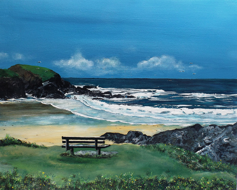 Seat at Treyarnon Acrylic on Canvas by Mike Bailey