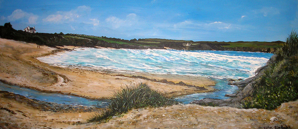 Stormy Harlyn Bay giclee canvas print by Mike Bailey