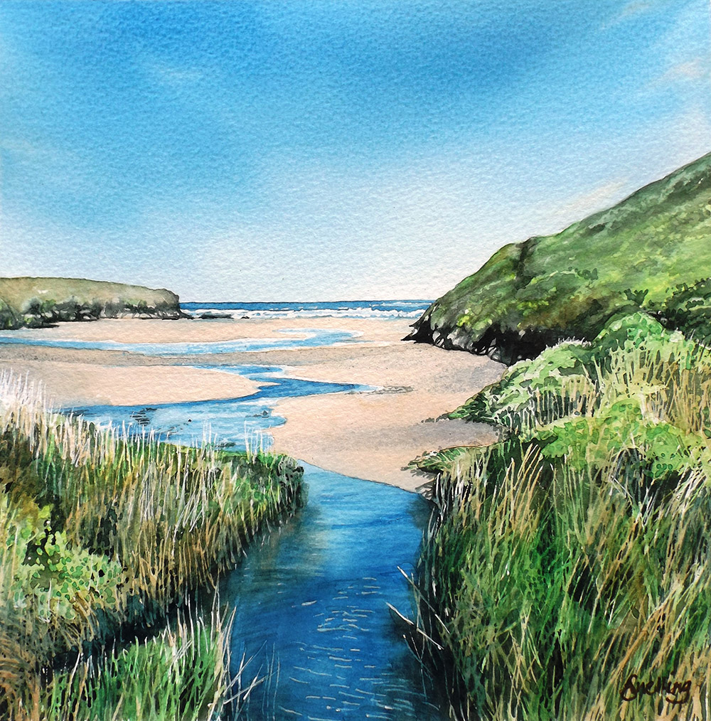 Stream at Porthcothan Original Watercolour