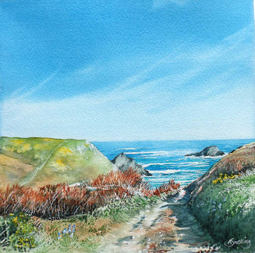 Track to Porthmeor Original Watercolour