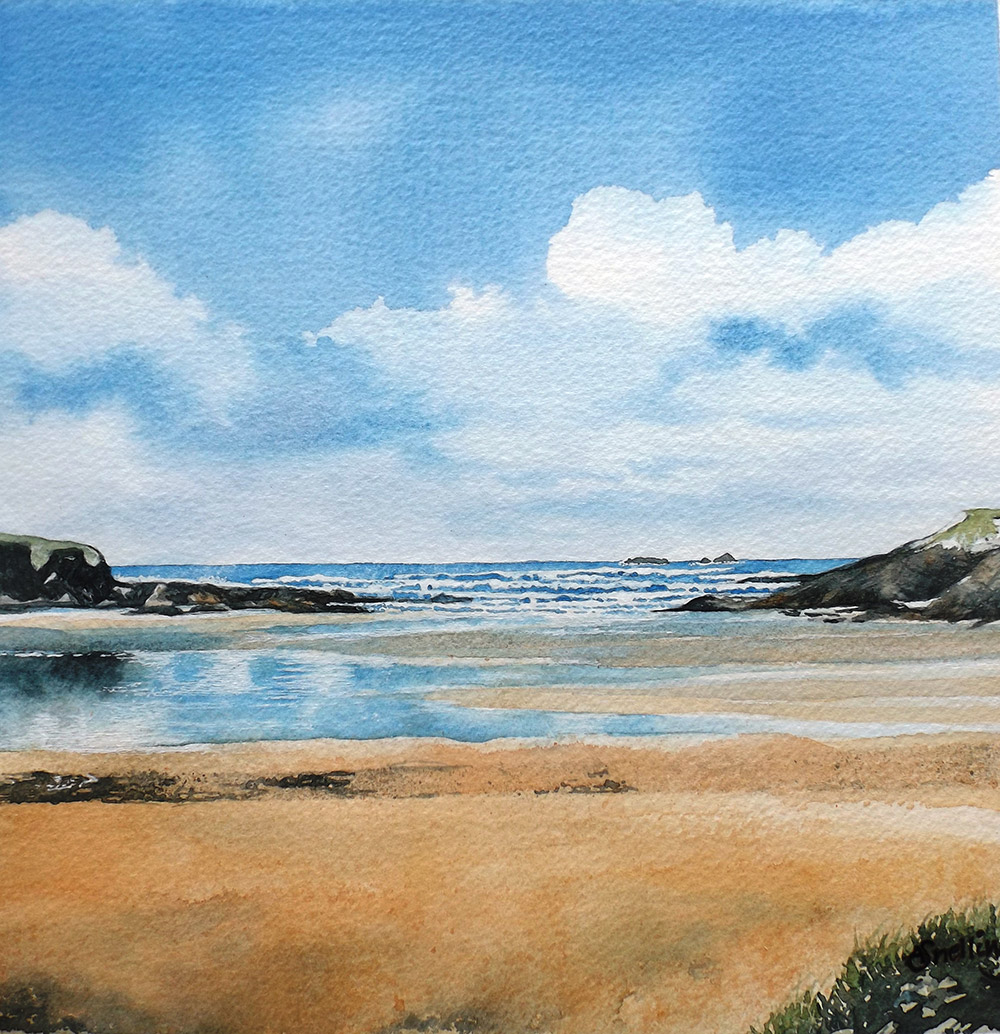 Treyarnon Bay Watercolour